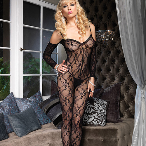 Leg Avenue Floral Lace Bodystocking with Sleeves