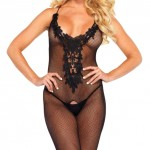 Leg Avenue Embroidered Crotchless Bodystocking
